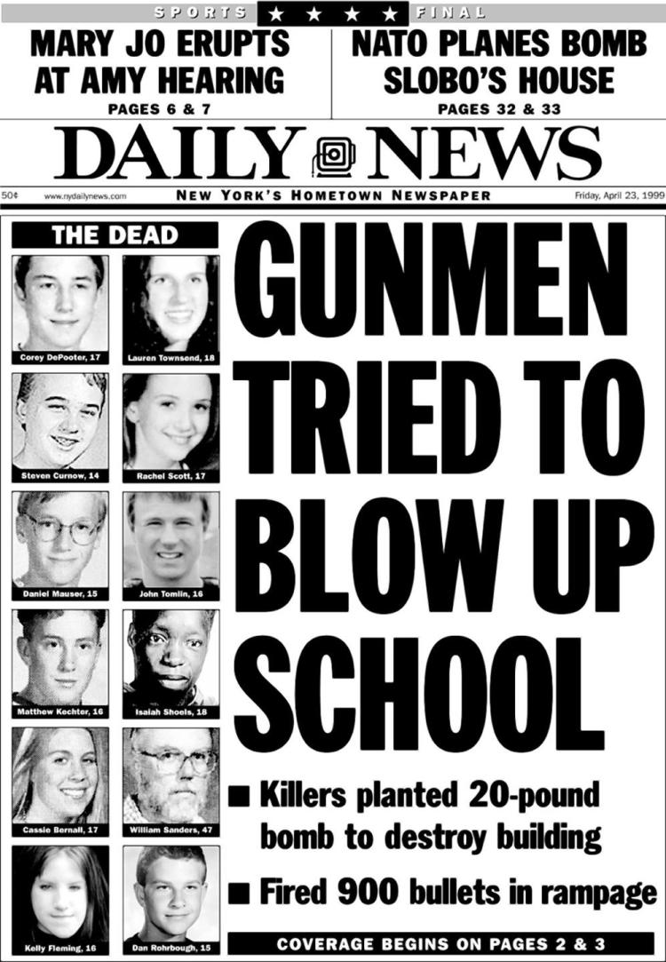 shooting at columbine high school causes Eric harris, left, and dlyan klebold, carrying a semi-automatic pistol, are pictured in the cafeteria at columbine high school, in littleton, colo, during their april 20, 1999 shooting rampage .
